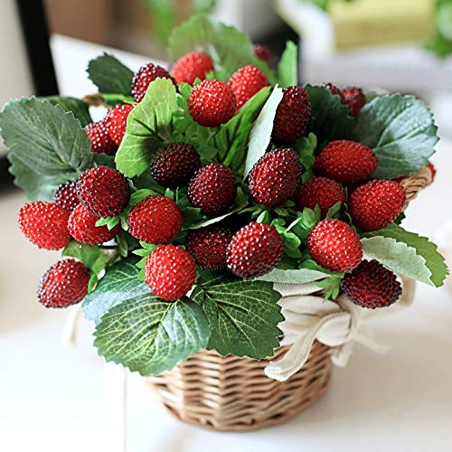 Wicket 5 Pcs Artificial Fake Plants Raspberry Fruit Plastic Berry Strawberry Decorative Flower for Home Decoration 10
