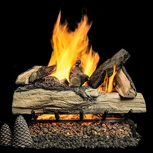 Sets Manual Valve Safety Pilot - Alpine Flame 24 Inch Grand Mountain Split Oak Vented Natural Gas Log Set + H-burner + Manual Safety Pilot + Wireless On/Off Wall Switch Kit