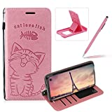 Strap Leather Case for Galaxy S10 Lite,Pink Wallet Flip Case for Galaxy S10 Lite,Herzzer Elegant Classic Solid Color Magnetic Cute Fish Cat Printed Stand PU Leather Case with Soft TPU