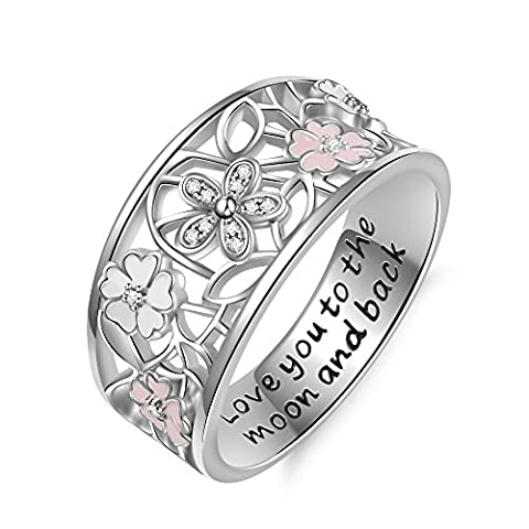 925 Sterling Silver Cubic Zirconia Flower Promise Ring?Gift For Women, Her, Girl Friend (Antique Ring Band)