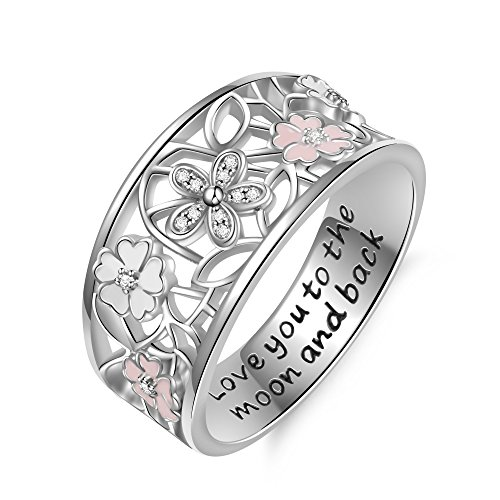 Angemiel 925 Sterling Silver Cubic Zirconia Flower Promise Ring for Women Jewelry Family Friend Love (8)