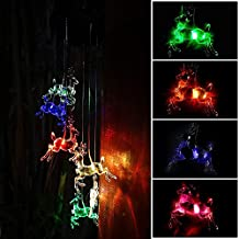 XIHAB Solar Wind Chime Moon Light Outdoor Waterproof Colorful LED Color-Changing Home/Party/Yard/Décor Mobile Wind Chime,B