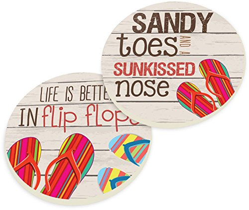 (Sandy Toes Sun Kissed Nose Flip Flops 2 Piece Ceramic Car Coaster Set)