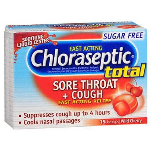 Chloraseptic TOTAL SUGAR FREE Liquid Center Lozenges-Wild Cherry-15ct