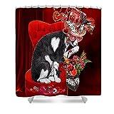 Pixels Shower Curtain (74'' x 71'') ''Cat In The Valentine Steam Punk Hat''