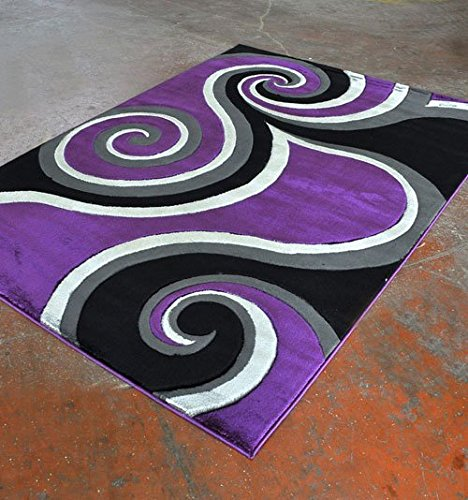 - Home Must Haves Super Soft Swirls 3-Dimentional Modern Contemporary Polyester Area Living Room Bedroom Floor Hand Carved Rug Carpet (8'x10', Purple)