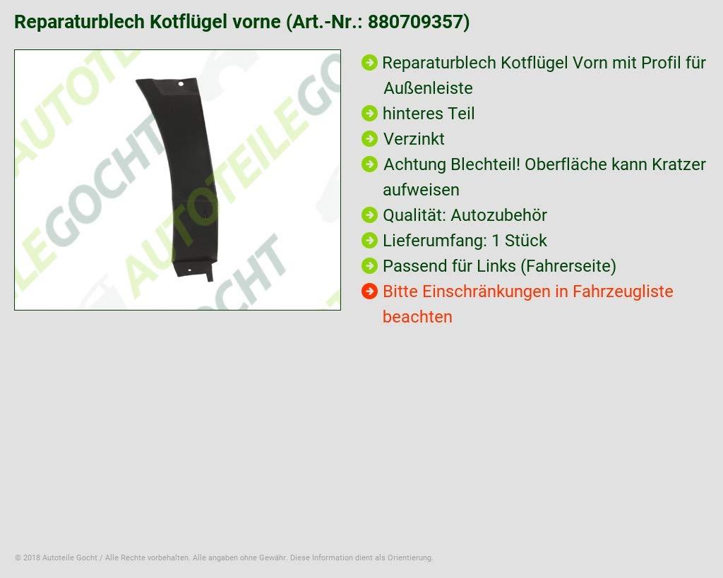 Verzinkt Radhaus Kotfl/ügel Reparaturblech Vorne Links B-Ware