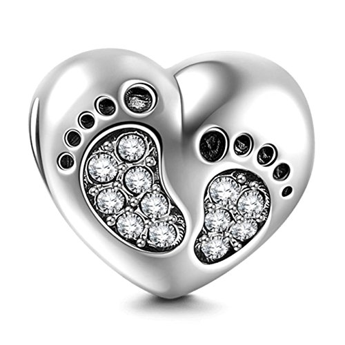 Footprint Charm with Heart 925 Sterling Silver Family Love Bead Baby First Steps Charm for Charm Bracelet (Clear)