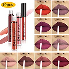 Specifics:        Type: Lipstick Lip Gloss Lip Pencil               Colors: 10 Colors for choice               Features: Long Lasting Maintain/ Waterproof/ Water-Resistant        Effect: Matte               Package Included: 10 x Long ...