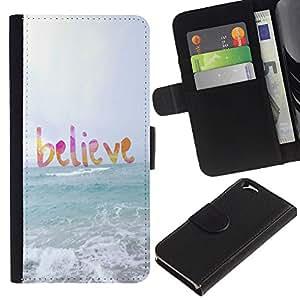Planetar® Modelo colorido cuero carpeta tirón caso cubierta piel Holster Funda protección Apple (4.7 inches!!!) iPhone 6 / 6S ( Believe God Sun Sea Beach Summer Text )