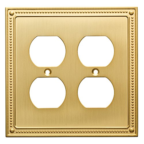 Franklin Brass W35064-BB-C Classic Beaded Double Duplex Wall Plate/Switch Plate/Cover, Brushed Brass - Brass Classic Lighting