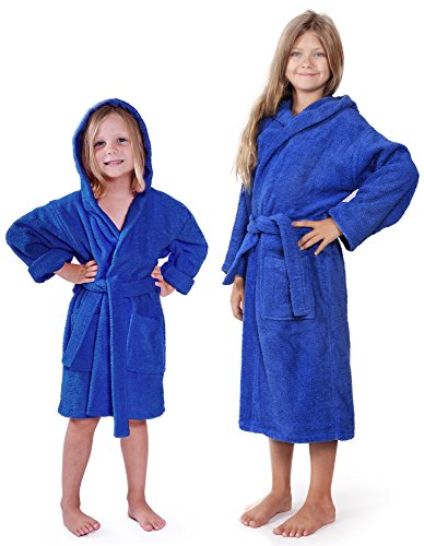 Indulge Turkish Linen Girls Terry Bathrobe, Hooded, 100% Cotton, Made In Turkey (Royal Blue, (Fuzzy Cotton)