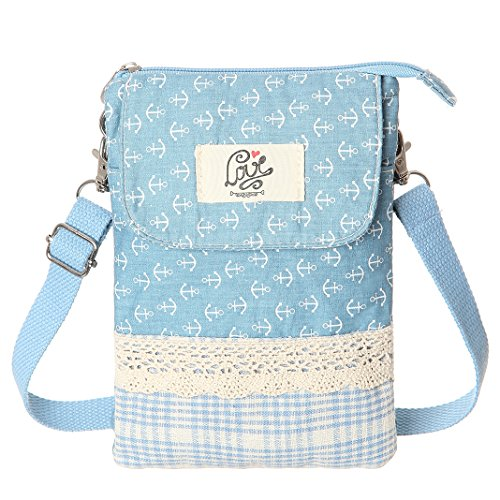 Blue Fabric Handbags - cell phone purse(Light Blue)