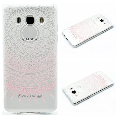 Qiaogle Teléfono Caso - Funda de TPU silicona Carcasa Case Cover para Samsung Galaxy Grand Prime G530 (5.0 Pulgadas) - MM07 / Bonjour Paris MM02 / Pink y Blanco Flor