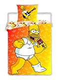 The Simpsons Homer Dancing Reversible Single Twin Comforter Duvet Cover Bed Linen & Pillowcase Set - 100% Cotton