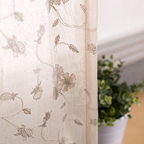 Floral Embroidery Sheer Window Curtains for Living Room Curtain Set Crinkled Rod Pocket Voile Window Panels for Bedroom 84 inches Long (1 Pair, Beige) (Rod Pocket Panel Set)