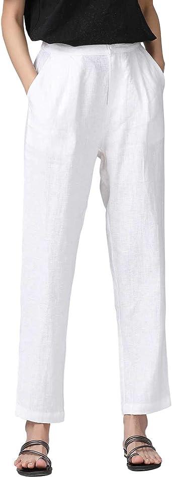 Amazon Com Iximo Pantalones De Vestir 100 Lino Para Mujer Plisados En La Parte Delantera Y Al Tobillo Clothing