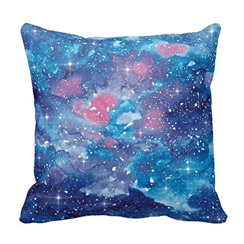Personalized 18x18 Inch Square Cotton Space Art Watercolor Galaxy Pillow Throw Pillow Case Decor Cushion Covers (Monogrammed Bolster Pillow)