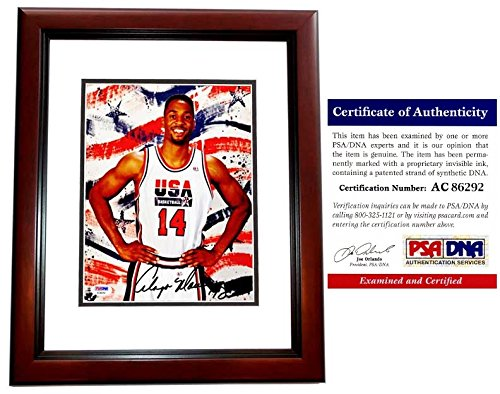 Alonzo Mourning Signed - Autographed 1996 USA Dream Team II 8x10 inch Photo MAHOGANY CUSTOM FRAME - PSA/DNA Certificate of Authenticity (COA) - 2006 NBA Championship with Miami Heat