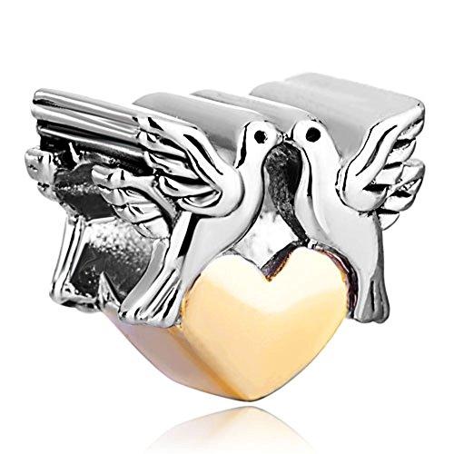 LovelyJewelry Heart Love Charms Couple Peace Doves on Heart Love European Beads For Bracelets