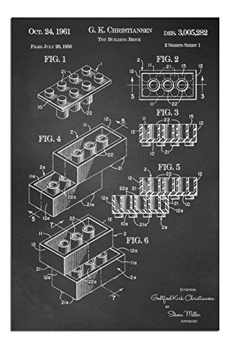 """JP London SPAPJSC25 Solvent Free Poster Art Print Block Piece Brick Lego Ready to Frame Vintage Chalkboard Patent 17"""" h by 11"""" w from JP London"""