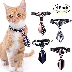 Collar de perro pequeño (4 piezas) corbata ajustable con campana para gatos, cachorros, accesorios de boda o uso diario: Amazon.es: Productos para mascotas