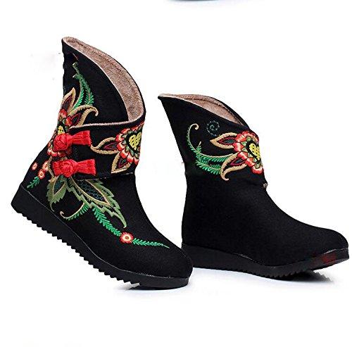 Hang im Baumwolltuch Wind Stiefel Bestickte Mit Baumwolle Schwarz Winter Chinese Schuhe Style Flache und Stiefel Stiefel KHSKX Schuhe Folk Pqg6BaH