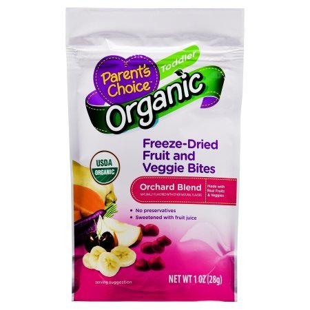 Parent's Choice 1 oz Organic Orchard Blend Freeze-Dried Fruit and Veggie Bites Toddler, 12 Pack by Parent's Choice (Image #1)