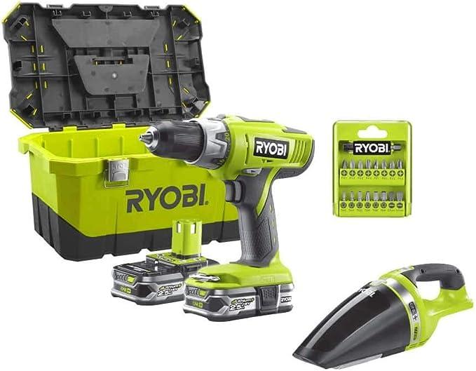 Ryobi 18V OnePlus Percussion Drill Pack LLCDI18-225 - Ryobi CHV182M Aspiradora de taller - 2 x 18V 2.5Ah LithiumPlus Bat: Amazon.es: Bricolaje y herramientas