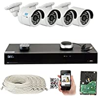 8 Channel H.265 4K NVR 4MP Home Surveillance Security Camera System with 4 x 4.0MP 1520p Weatherproof Day Night Bullet POE IP Cameras, Power over Ethernet (2TB HDD)