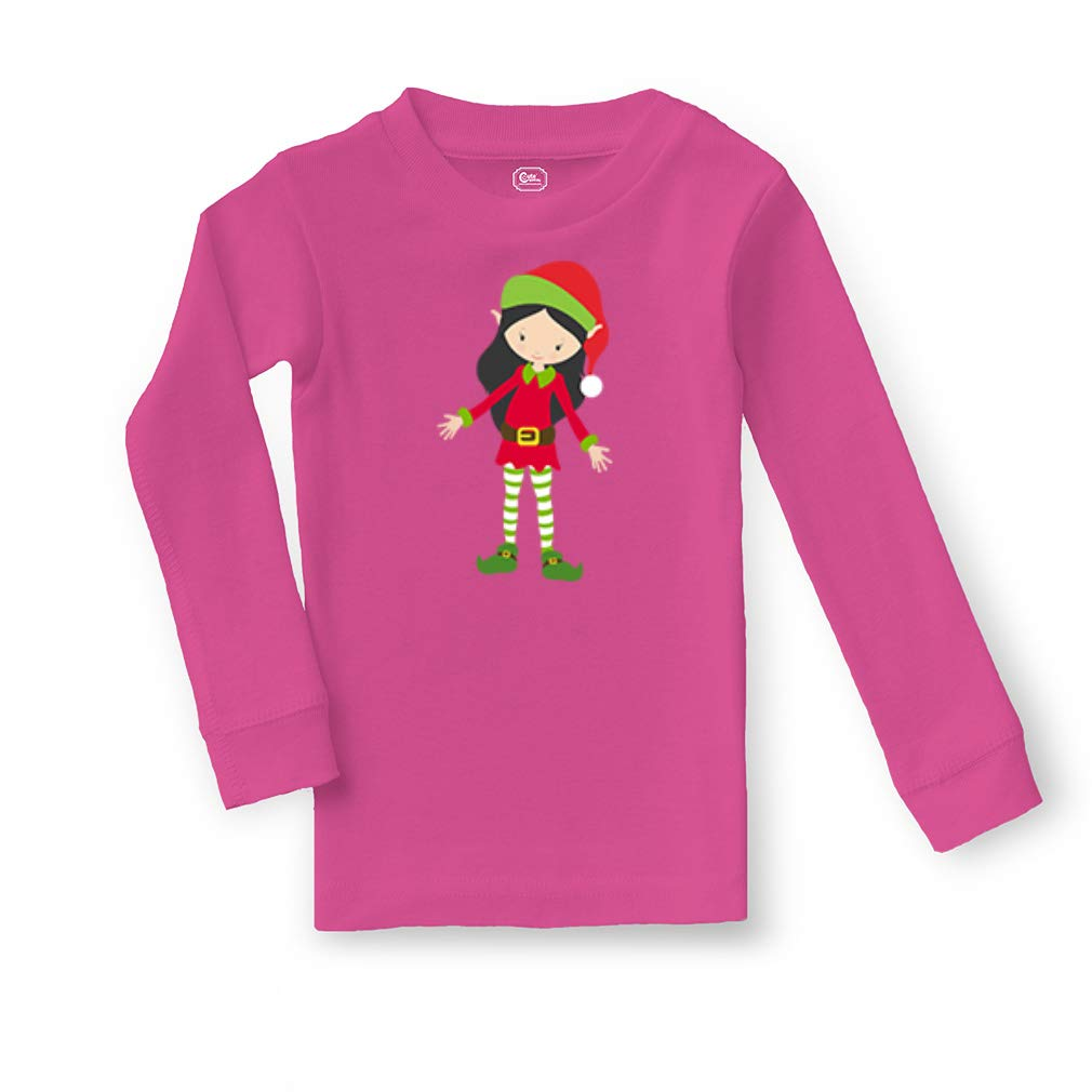 Elf Girl Red Green Black Cotton Boys-Girls Sleepwear Pajama 2 Pcs Set
