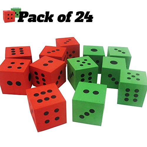 Pack of 24 - Green and Red Playing Soft Foam Dices – Board Games, Family Games, Party Favor, Themed Birthday- Kids and Adult – All Ages and All Stages! by Toy Cubby (Image #3)