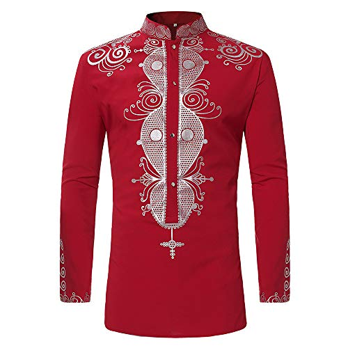 Toimothcn Men's African Style Print Long Sleeve 1/4 Zipper Dashiki Shirt Top Blouse (Red,M)