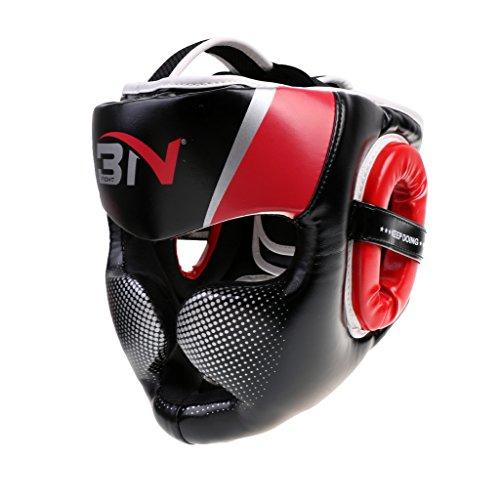 Jili Online Boxing Helmet Training Head Guard Kick Protector Full Face Protector Adult - Red