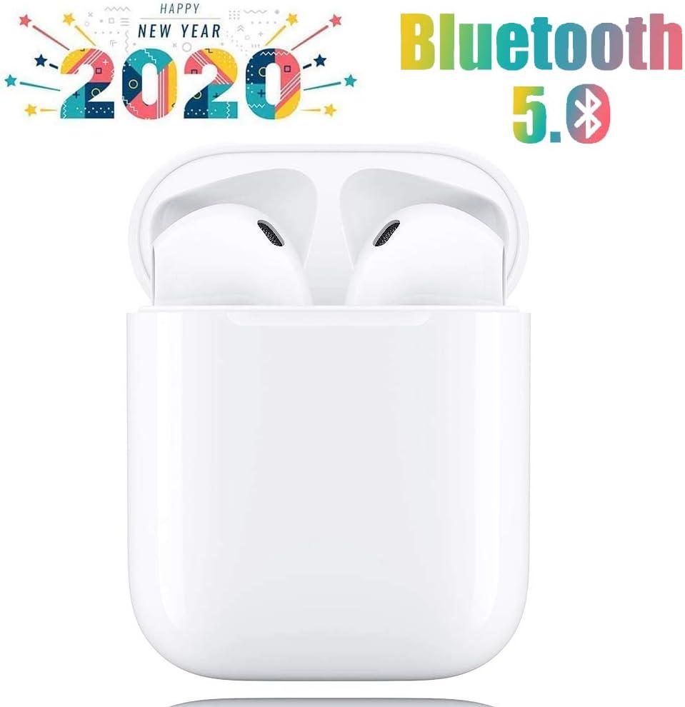 i12 - TWS Auriculares inalámbricos Bluetooth5.0, Toque Inteligente, Emparejamiento emergente automático, Micrófono binaural HD Call, Auriculares con cancelación de Ruido estéreo 3D - Blanco