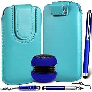N4U Online Premium PU tirón del cuero del tirón del caso Tab cubierta de bolsa Con magnética Cierre de correa, Mini Altavoz Portátil y 3 Pack Stylus Pen Bundle para Nokia Asha 503 - Azul Bebé