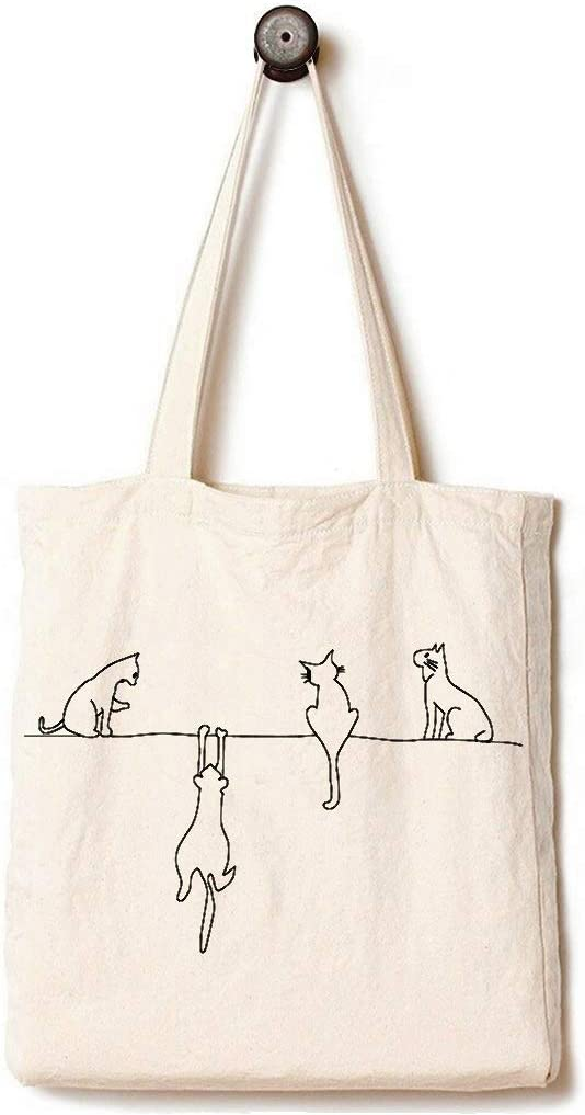 Andes Heavy Duty Gusseted Canvas Tote Bag, Handmade from 12-ounce 100% Cotton, Perfect for Shopping, Laptop, School Books, Four Cats White