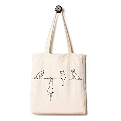 Andes Heavy Duty Gusseted Canvas Tote Bag, Handmade from 12-ounce 100% Biodegradable Cotton, Perfect for Shopping, Laptop, School Books, Four Cats at Home