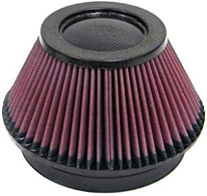K&N Universal Air Filter - Carbon Fiber Top: High Performance, Premium, Replacement Engine Filter: Flange Diameter: 6 In, Filter Height: 4 In, Flange Length: 1 In, Shape: Round Tapered, RP-4600
