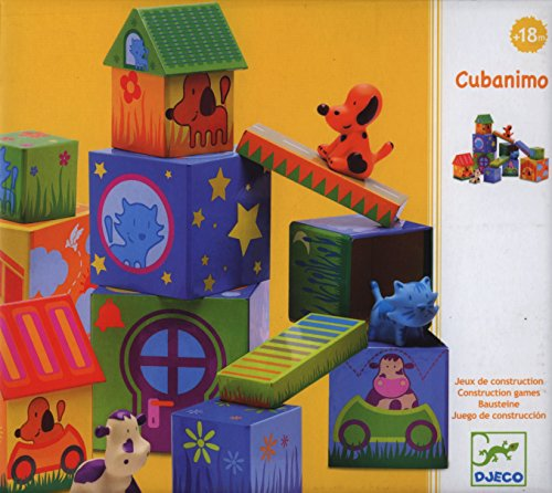 Djeco / Cubanimo 17-Piece Nesting Block Set with Animal Friends by Papo
