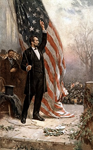 Posterazzi Digitally Restored Vintage Civil War Painting Featuring President Abraham Lincoln Holding The American Flag as he Speaks Before a Crowd Poster Print, ((8 x 10)