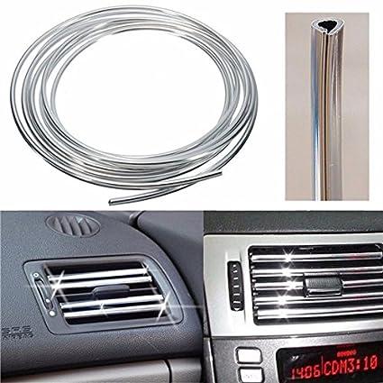 X AUTOHAUX 10pcs Red Chrome Car Air Condition Vent Grille Moulding Trim Strip
