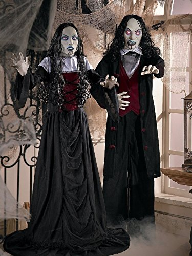 OT-TV 2-PC Life-Size 5-Ft Vampire Couple Standing Halloween Prop Decorations w/ Red Flashing Eyes -