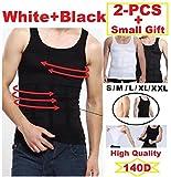 2Pc iBuylinks Men's Body Shaper Compression Undershirt-Tank Vest Shapewear S white & black