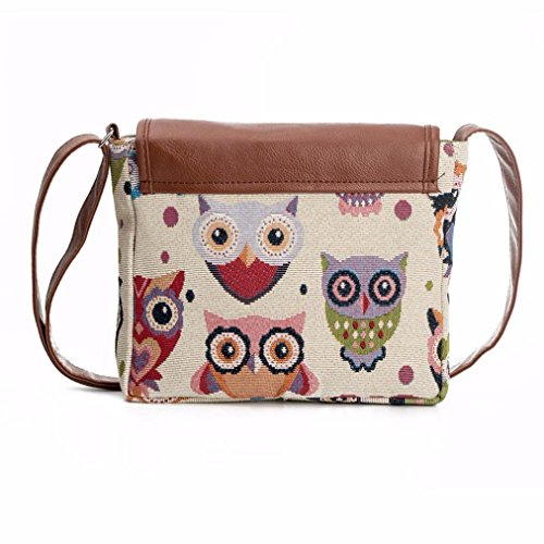 Bluester Cartoon Shoulder Messenger Bag Women Owl Printed Crossbody D Handbag Satchel rwr7WXFq
