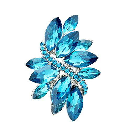 Cocktail Aqua Ring - Rosemarie Collections Women's Dazzling Crystal Leaf Stretch Cocktail Ring (Aqua Blue)