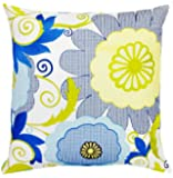 Trina Turk Trellis Turquoise Garden Embroidered Decorative Pillow, 20 by 20-Inch, Blue/Yellow