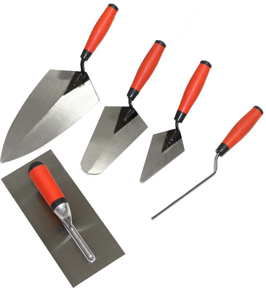 WEDGE: 5 Piece Professional Masonry Trowel Set - Tempered Steel Blades by ToolUSA