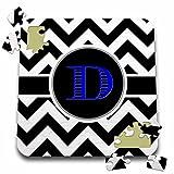 BrooklynMeme Designs - Black and white chevron monogram blue initial D - 10x10 Inch Puzzle (pzl_252188_2)