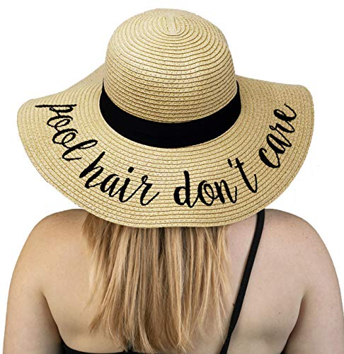 H-2017-PHDC Embroidered Sun Hat: Pool Hair Don't Care (Best Hats For Short Hair)